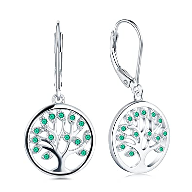 JO WISDOM Tree of Life Earrings,925 Sterling Silver Family Tree Drop Leverback Earrings,Jewellery for Women