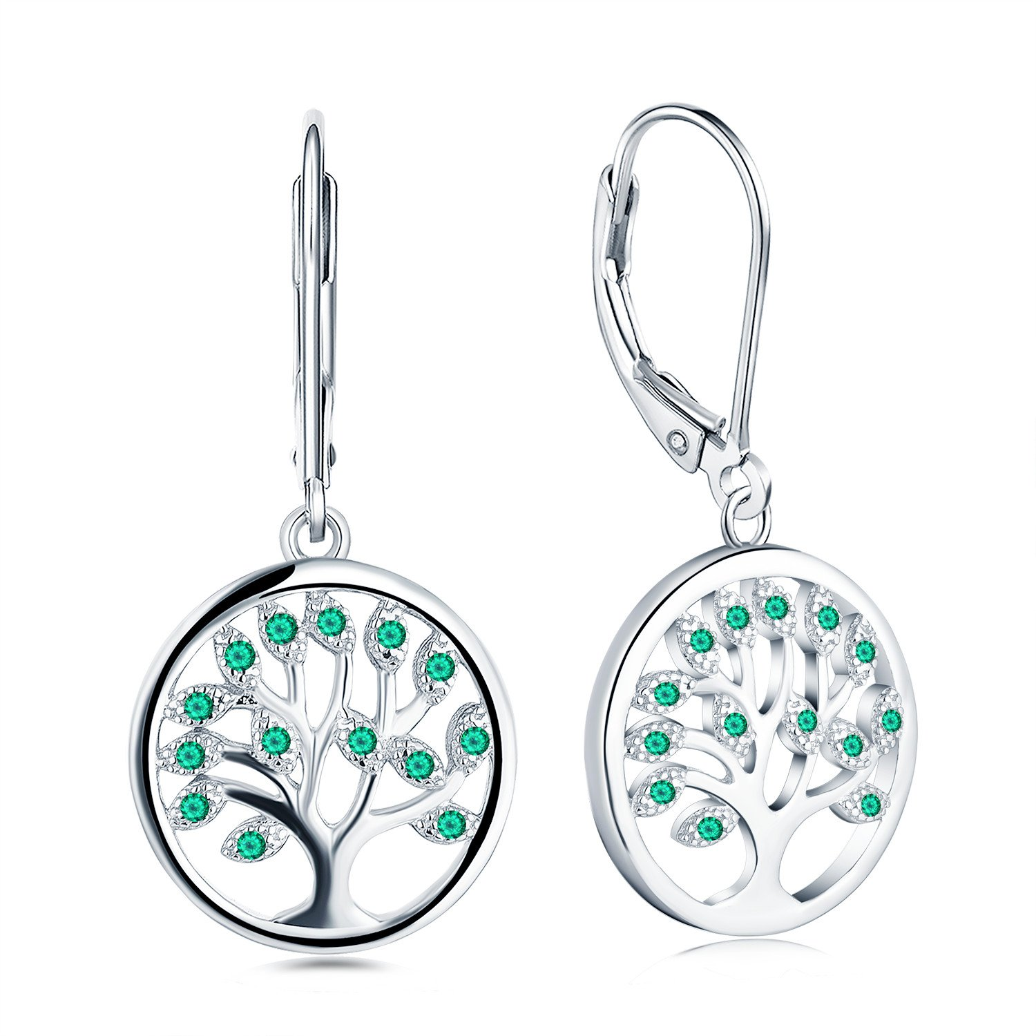 925 Sterling Silver Family Tree of Life Created Emerald Drop & Dangle Leverback Earrings