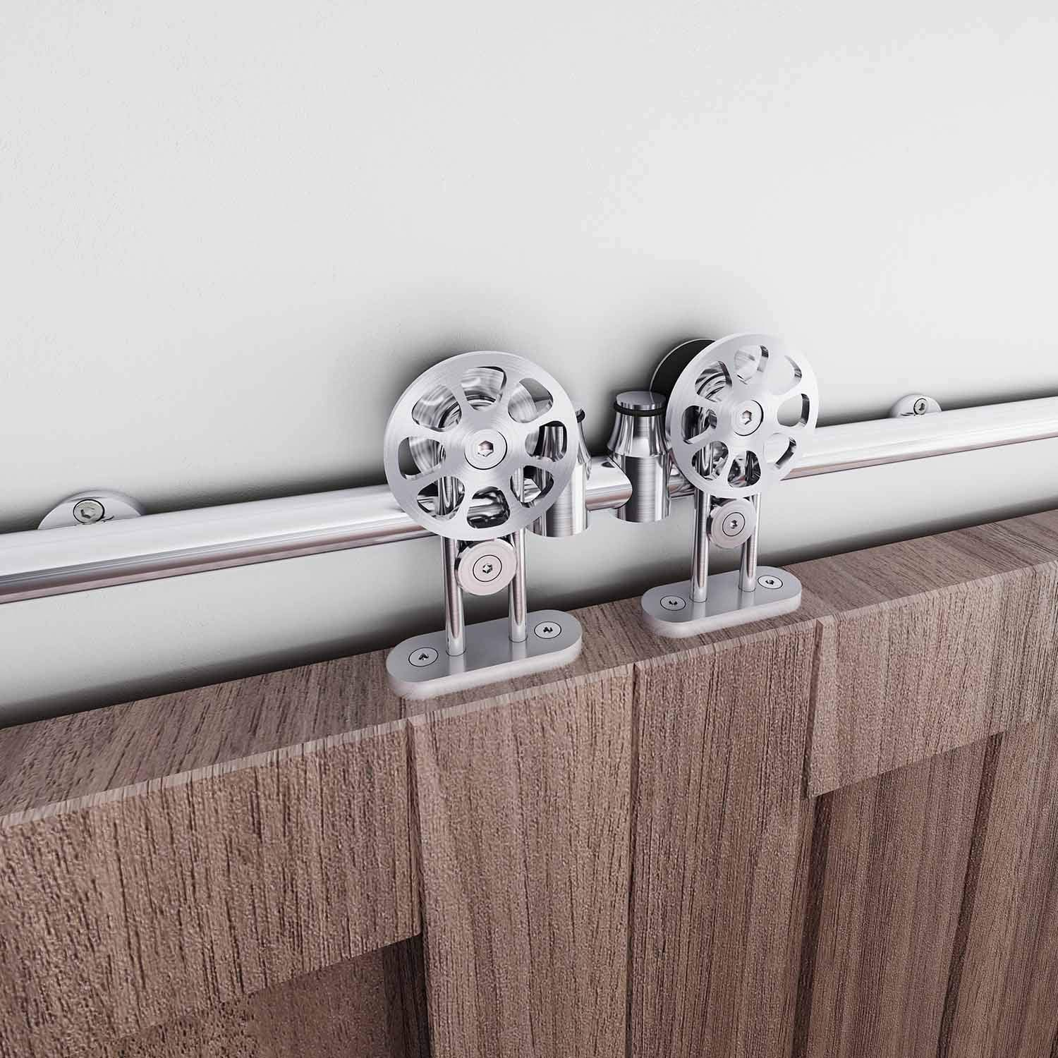 EaseLife 12 FT Double Door Top Mount Modern Sliding Door Hardware Track Kit | Stainless Steel | Anti-Rust| Slide Smooth Quiet | Easy Install | Fit Two 30''~36'' Wide Door | 12FT Track Double Door Kit by EaseLife (Image #3)