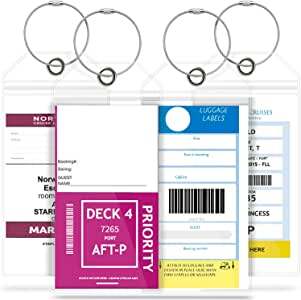 GreatShield Cruise Luggage Tag Holder with Zip Seal & Steel Loops, Weather Resistant PVC Pouch - Clear (4 Pack)