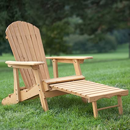 Superbe Big Daddy Reclining Adirondack Chair With Pull Out Ottoman  Natural