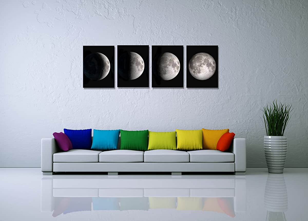 Yang Hong Yu Canvas Prints Stretched Artwork Abstract Wall Decor Black and White Moon Pictures on Canvas Printing Wall Art for Home Office Decorations 12x16inch