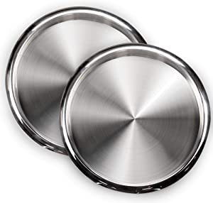 DecorRack 2 Serving Trays Stainless Steel 12 Inch Round Bar Tray Silver Platters for Serving Cocktails and Beverages at Parties, Restaurants, Bars, and Catering, Serveware with Mirror Finish (2 Pack)