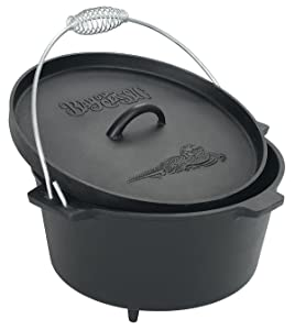 Bayou Classic 7360 Cast Iron Dutch Oven with Feet, 8.5 Quart