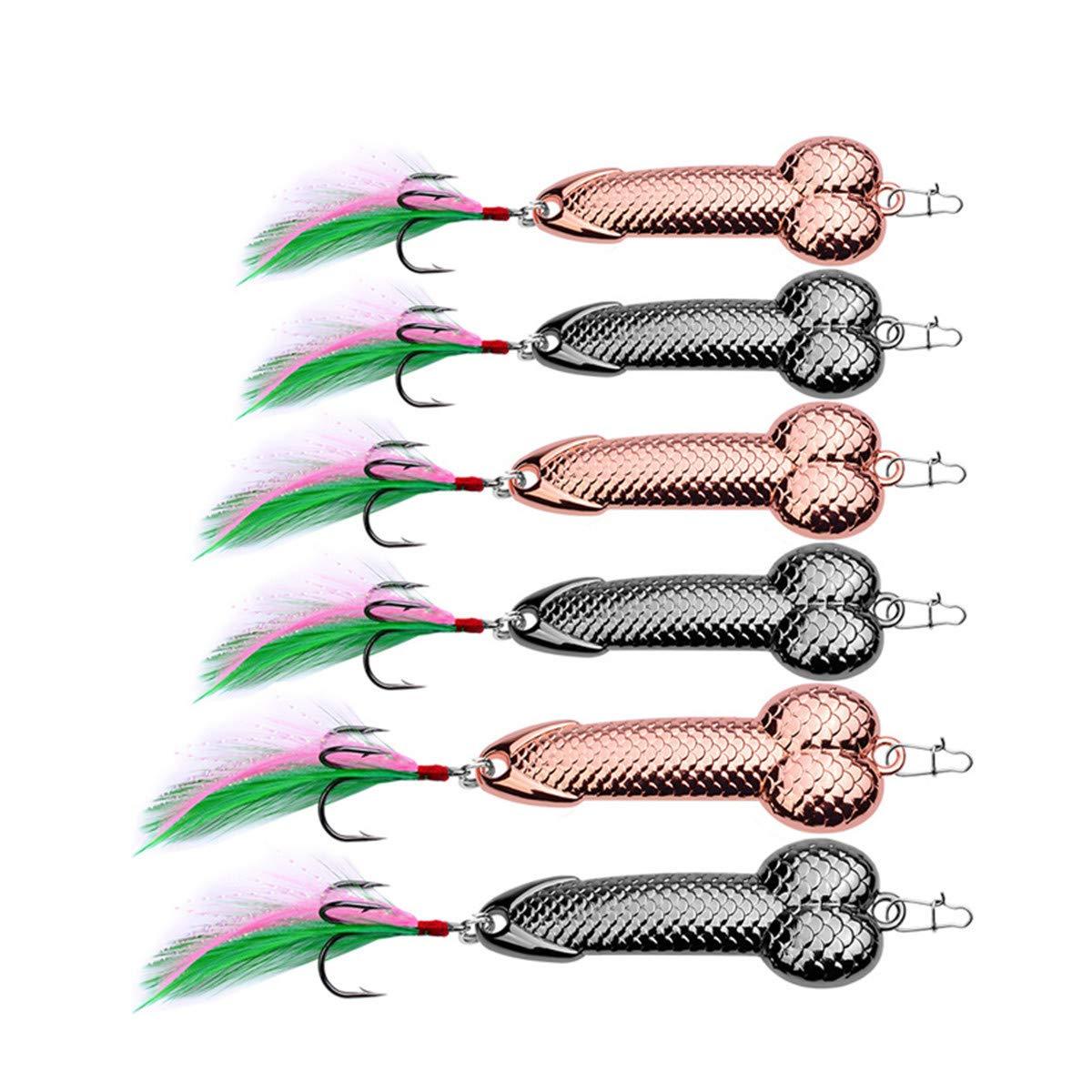 Rose Gold Harte VIB Metall Wobble Fisch Penis Form Lockt L/öffel Lure Feder K/öder Haken Angelger/ät 3g-36g Longzhuo 2 St/ücke Schwarz