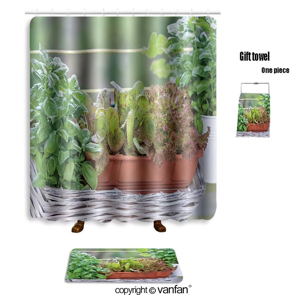 vanfan bath sets with Polyester rugs and shower curtain herbs on balcony 356262659 shower curtains sets bathroom 72 x 96 inches&31.5 x 19.7 inches(Free 1 towel and 12 hooks)
