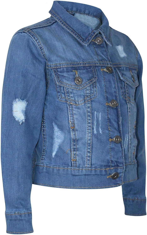 Femme Veste en Jean Taille 14 12 10 8 6 déchiré Cropped Stretch Jean Vestes Bleu