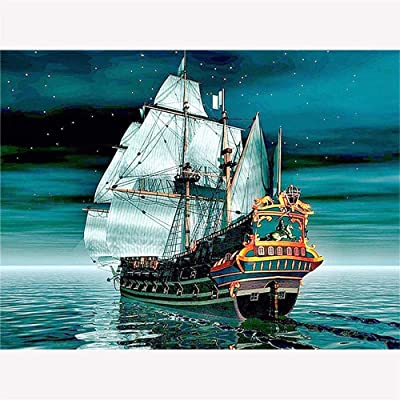 Diy Oil Painting, Paint By Number Kits -Night Ocean Sailboat,16X20 Inch: Everything Else