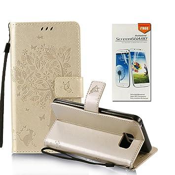 OuDu Funda Samsung Galaxy S6 Carcasa de Billetera Funda PU Cuero para Samsung Galaxy S6 Carcasa Suave Protectora - Oro (Regalo:1 Protector de ...