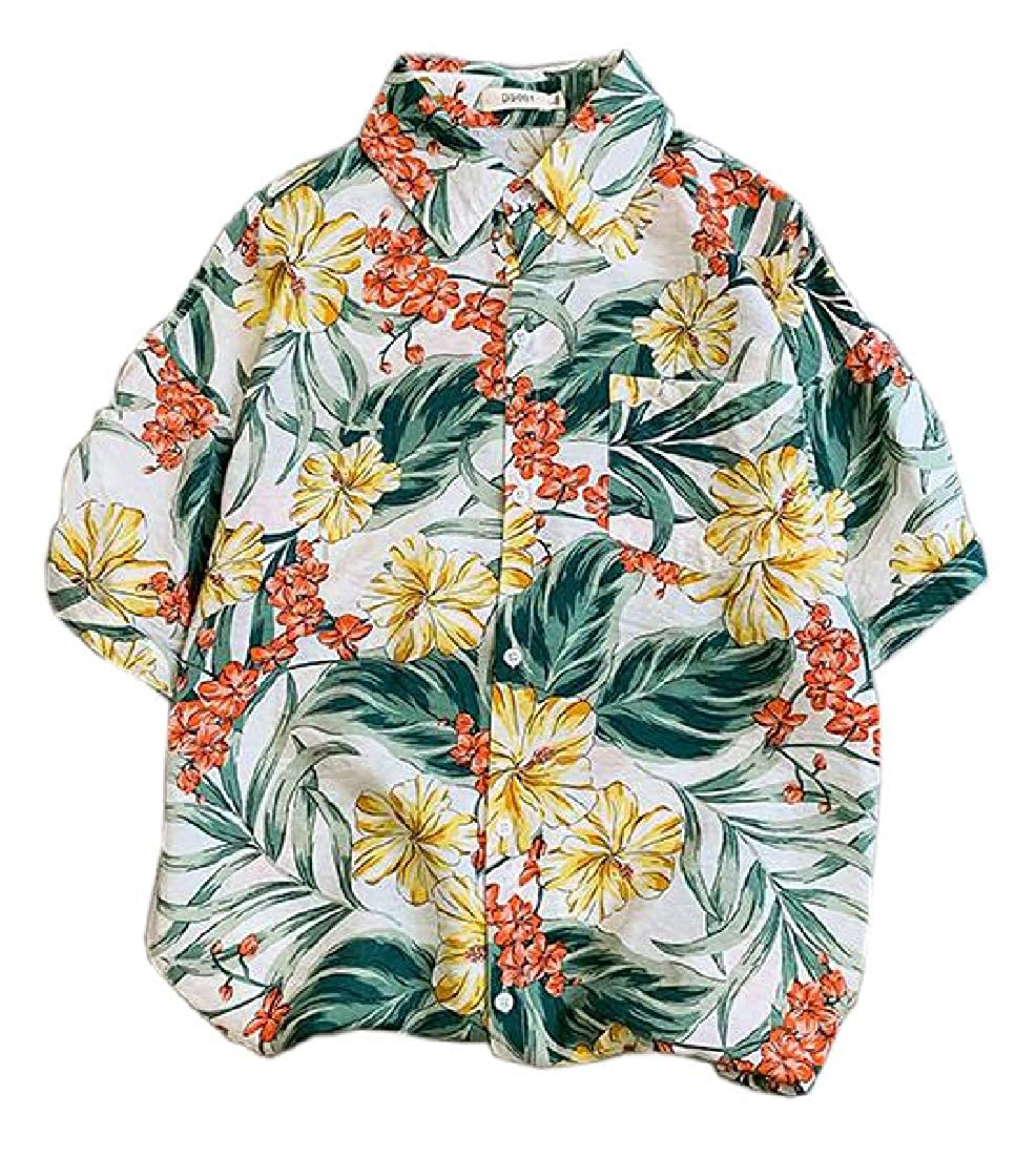 H.Wang Beach Floral Print Mens Short Sleeve Hawaiian Aloha Shirt