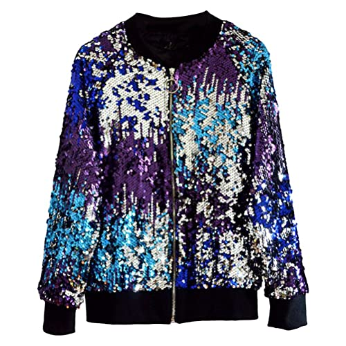 Zhhlinyuan Hermosa ropa de mujer Retro Classic Change Color Gradient Sequined Zip Baseball Jacket Ou...