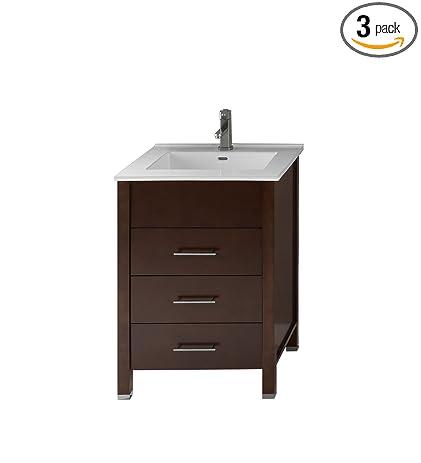 RONBOW Kali 24 Inch Bathroom Vanity Set In Dark Cherry, Bathroom Vanity  Cabinet With Drawers