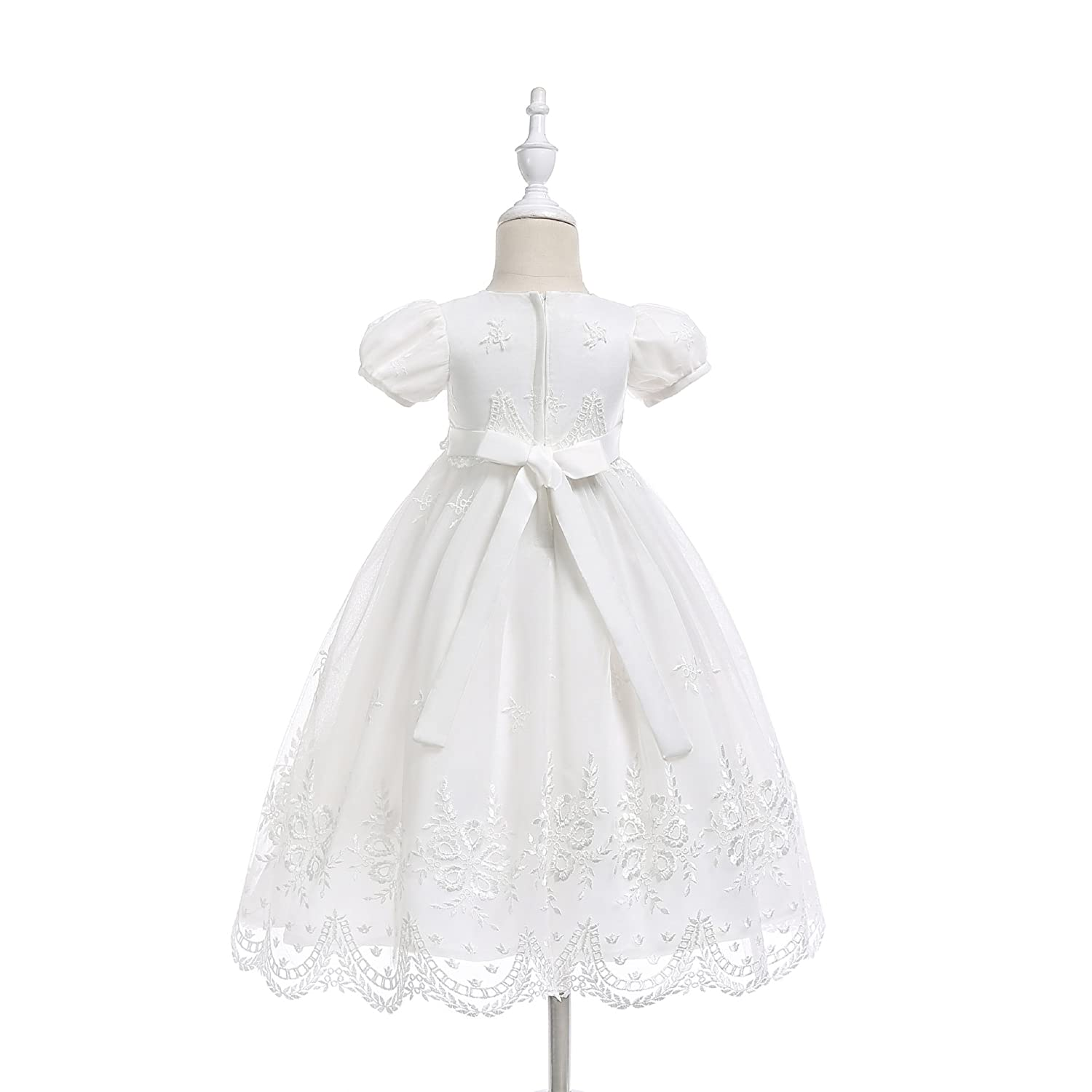 Glamulice Baby-Girls Newborn Satin Christening Baptism Floral Embroidered Dress Gown Outfit