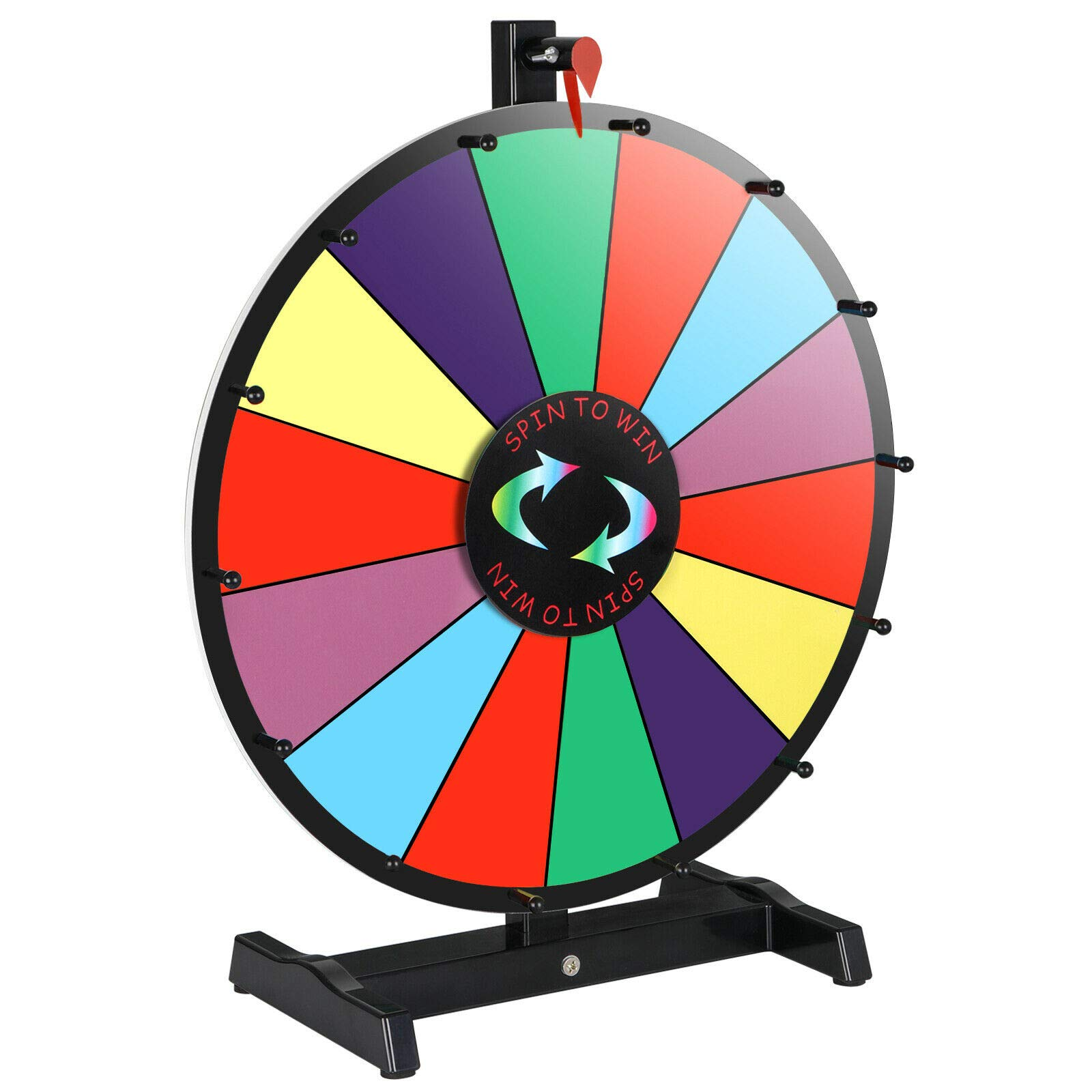18'' Tabletop Prize Wheel Water Based Pen Eraser Editable Reusable Dry Erase Color Portable 14 Slots Perfect for Trade-Shows Promotion Activities Carnivals Annual Meetings Holiday Activities Parties