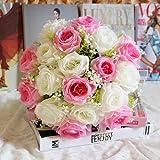 Dragon868 18Head Kunstseide Rosen Blumen Brautstrauß Rose Home Wedding Decor (I, Künstliche Blume)