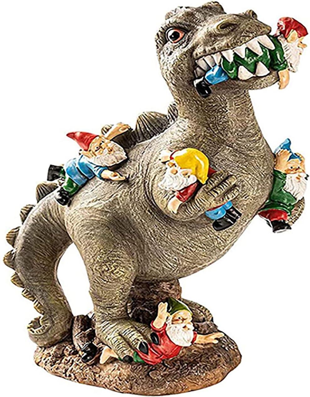 Anvirtue Dinosaur Eating Gnomes Garden Decor Statue,Resin Garden Gnome Statues,for Outdoor Garden Patio or Indoor Decor (Dinosaur)