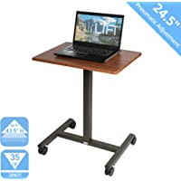 """Seville Classics AIRLIFT Pneumatic Laptop Computer Mobile Desk Cart Height-Adjustable from 29.3"""" to 43.5"""" H, 24"""", Walnut"""