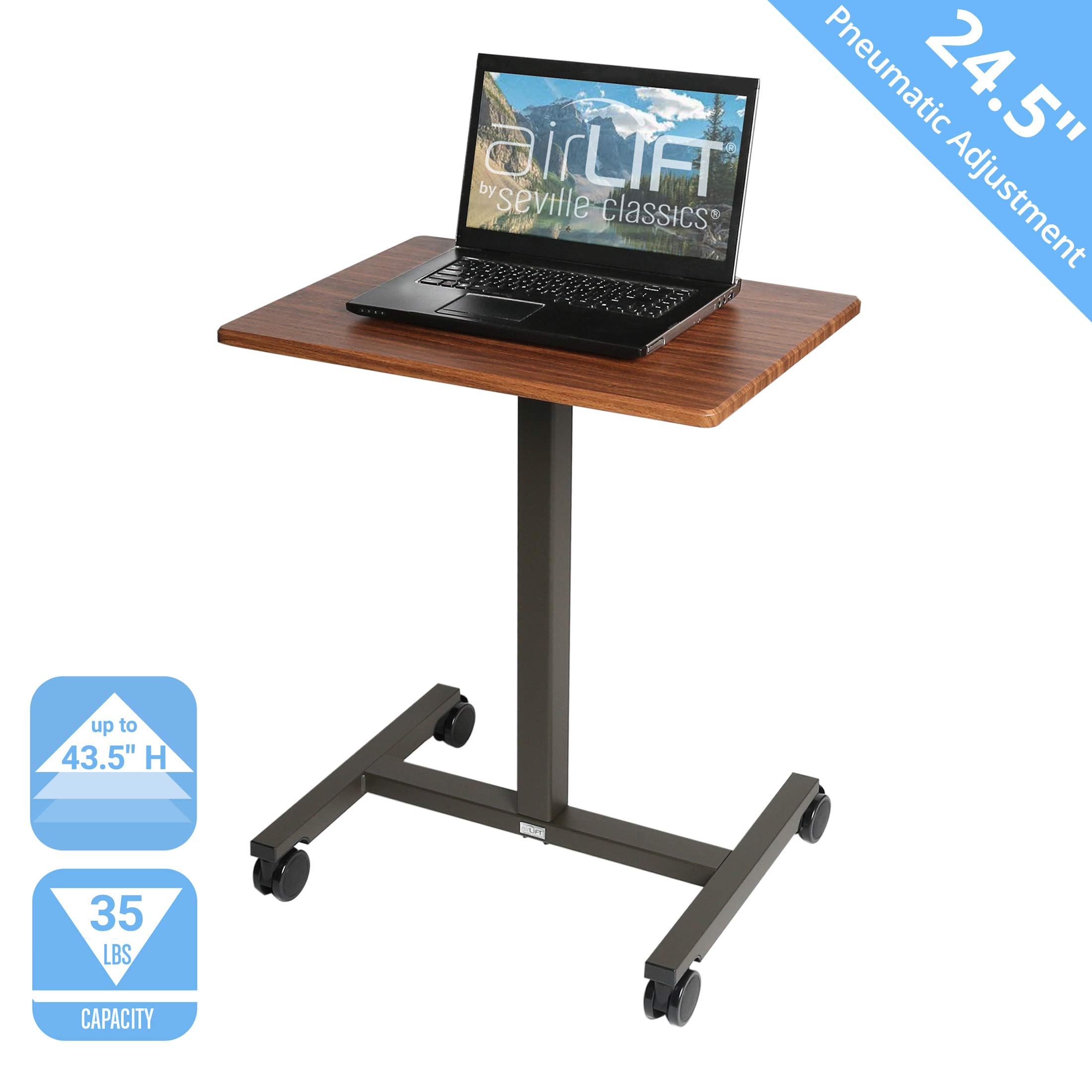 Seville Classics AIRLIFT Pneumatic Laptop Computer Mobile Desk Cart Height-Adjustable from 29.3'' to 43.5'' H, 24'', Walnut by Seville Classics