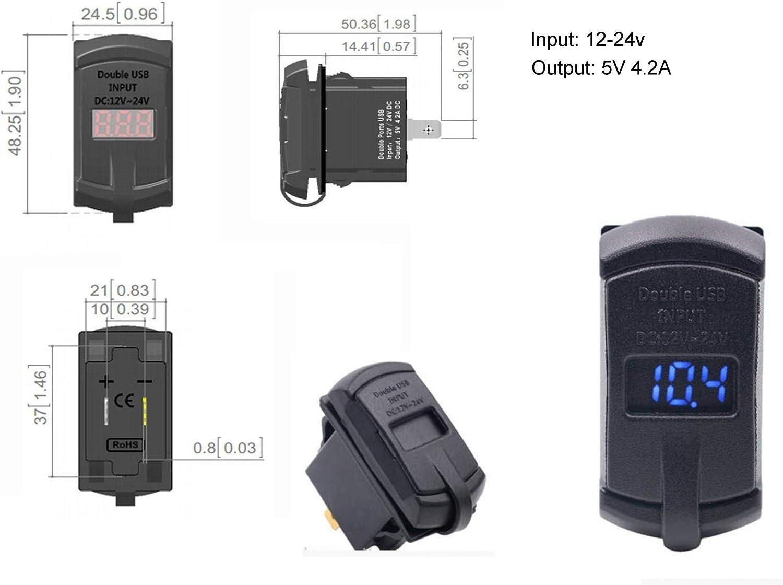 DaierTek 5V 4.2A Marine Dual USB Car Charger Adapter Socket Waterproof with Led Digital Voltmeter for Rocker Switch Panel on Boat RV Vehicle