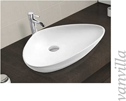 vanvilla Waschbecken Keramik Aufsatzbecken Eckig Aufsatzwaschbecken TS-080