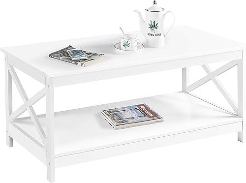Topeakmart Modern X Design White Coffee Table