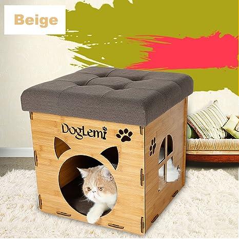 easylifer gato casa gatito mascota de madera refugio cabaña mascota casa/Pets camas mascota perreras