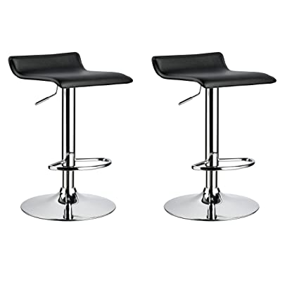 Merveilleux Duhome 2 PCS Contemporary Counter Bar Stool Curved Swivel Adjustable  Barstools (black)