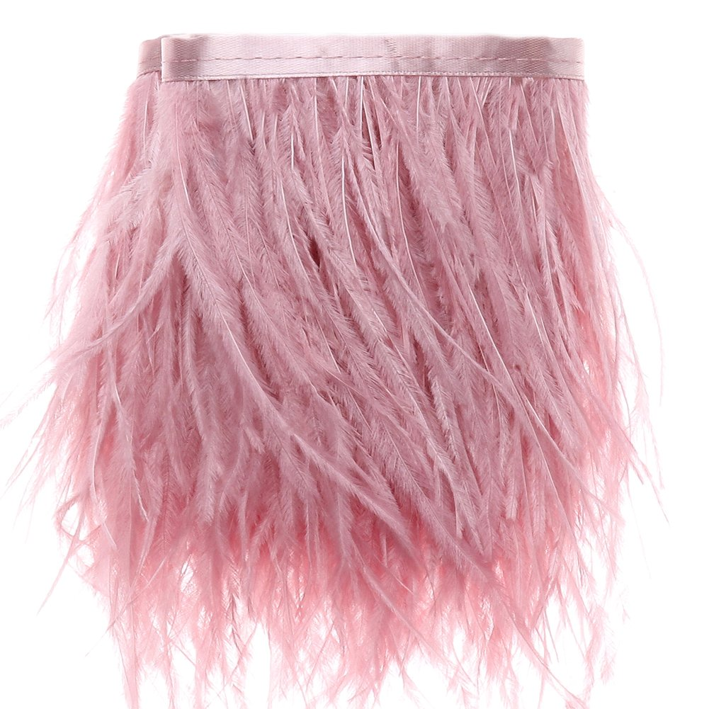 Ostrich Feathers Trims Fringe with Satin Ribbon Tape Leather Pink for Dress Sewing Crafts Costumes Decoration Pack of 2 Yards