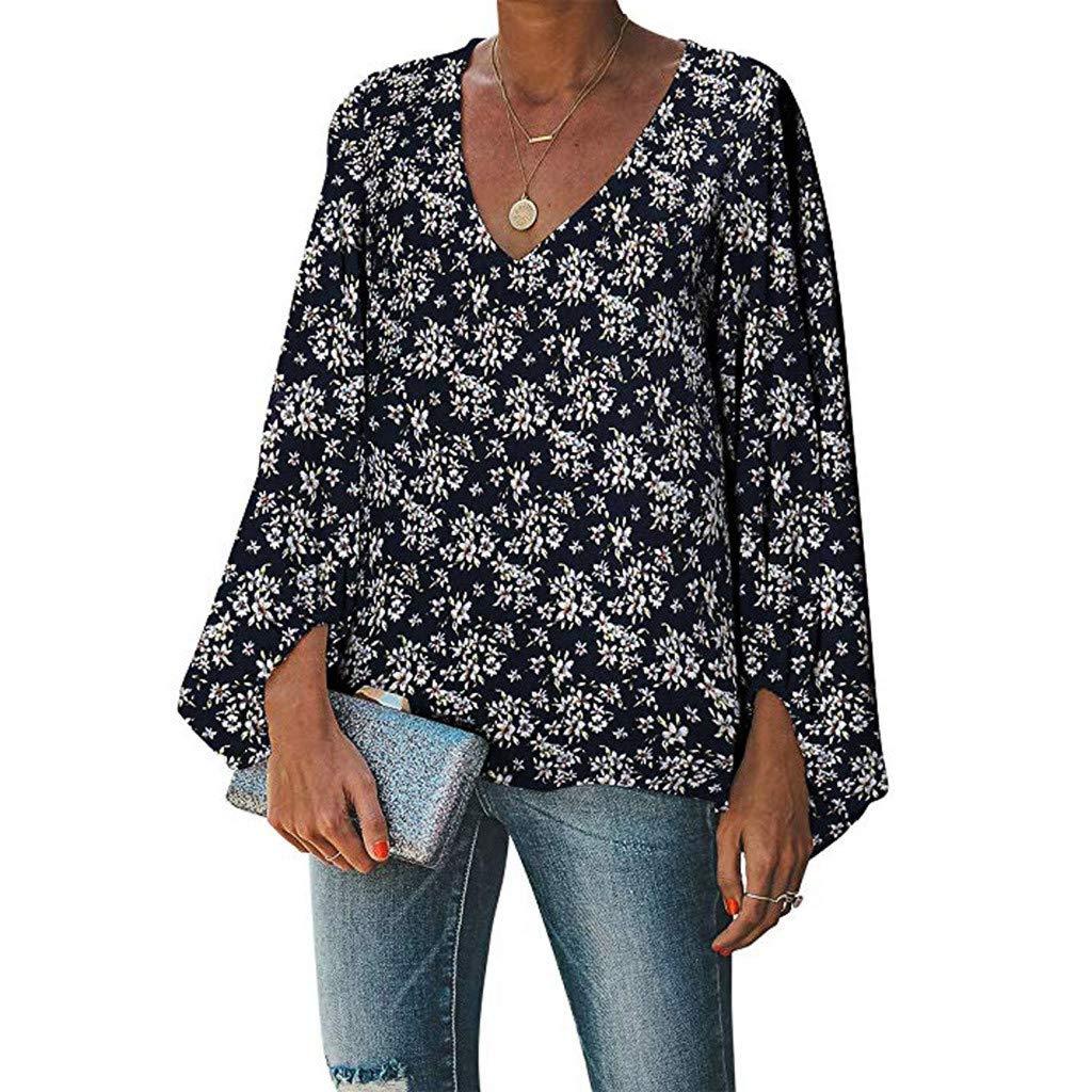 ITISME Maglietta Donna Taglia Grossa da Donna Camicette V Neck Elegante Camicie Casual Top Manica Lunga Camicetta Donna Stampa Bluse e Camicie