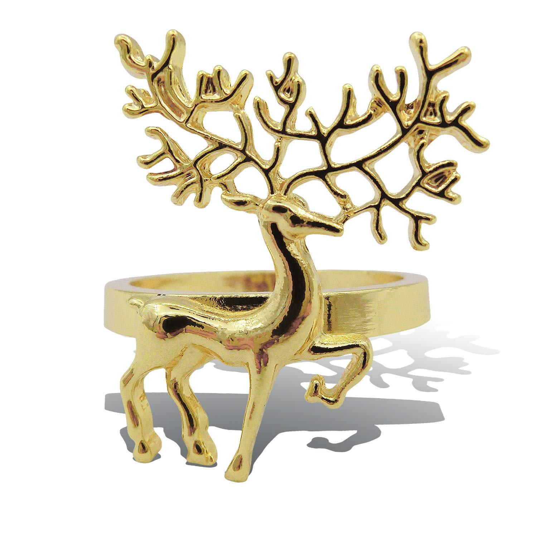 Elehere Holiday Christmas Thanksgiving Deerlet Napkin Rings Wedding Party Table (Rose Gold, 4) ELEKBH20171023001