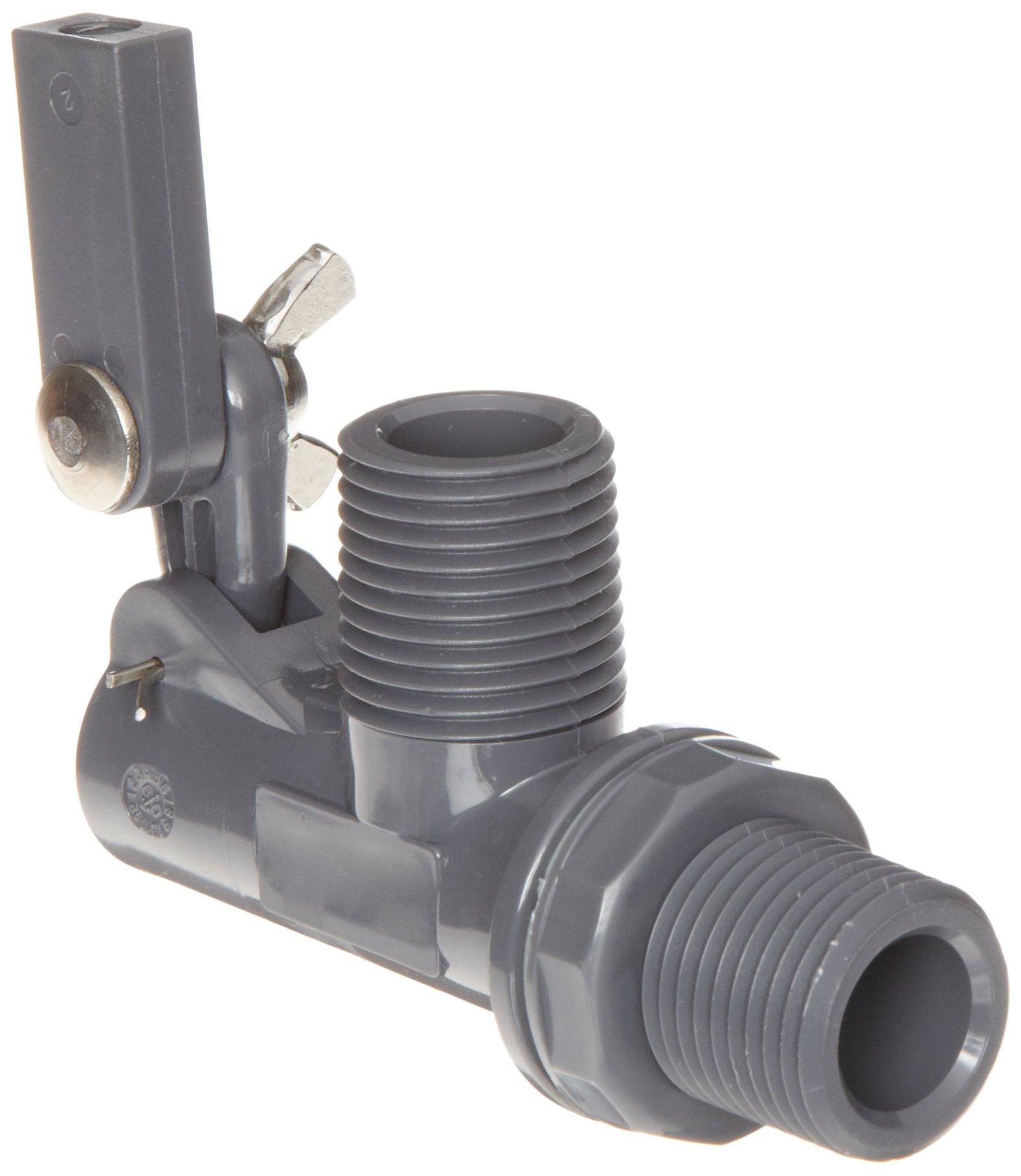 Kerick Valve PT050525 PVC Float Valve, Tank Mount, 12.5 gpm at 60 psi, 1/2'' NPT Male