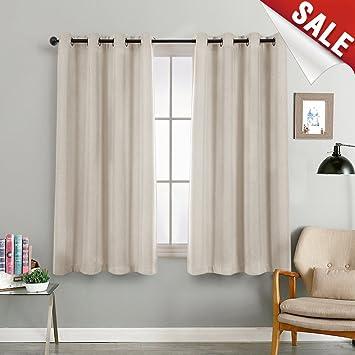 Amazoncom Linen Textured 72 Inch Long Room Darkening Greyish Beige