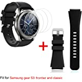 Samsung Gear S3 Band Replacement and Tempered Glass Screen Protectors[3-Pack], for Samsung Gear S3 Frontier/ Classic Smartwatch (Black)