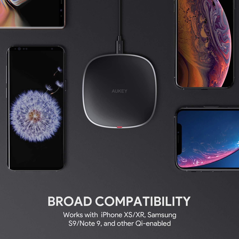 AUKEY Cargador Inalámbrico Qi Certified de Carga Rápida con Niveles de Salida de 10W, 7.5W y 5W,Compatible con Samsung S10/S9/S8/S7, iPhone XS/XR/X/8, ...