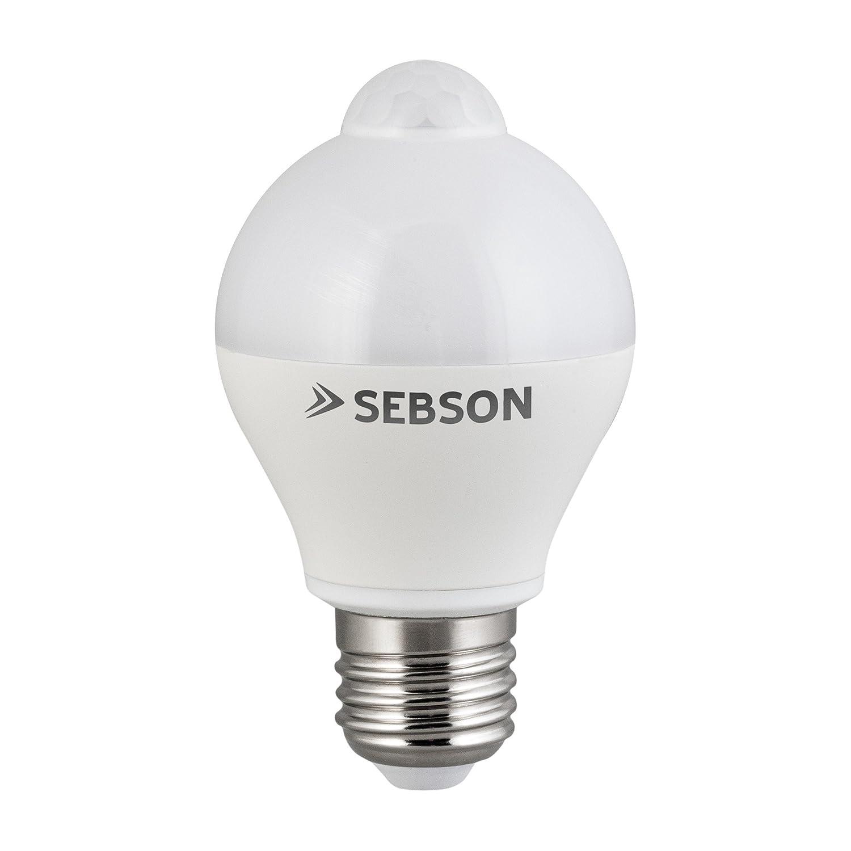 SEBSON® LED Bombilla E27 Sensor, detector de movimiento, sensor crepuscular, 6W, 400lm, equivalente a 35W, Blanco Cálido: Amazon.es: Iluminación