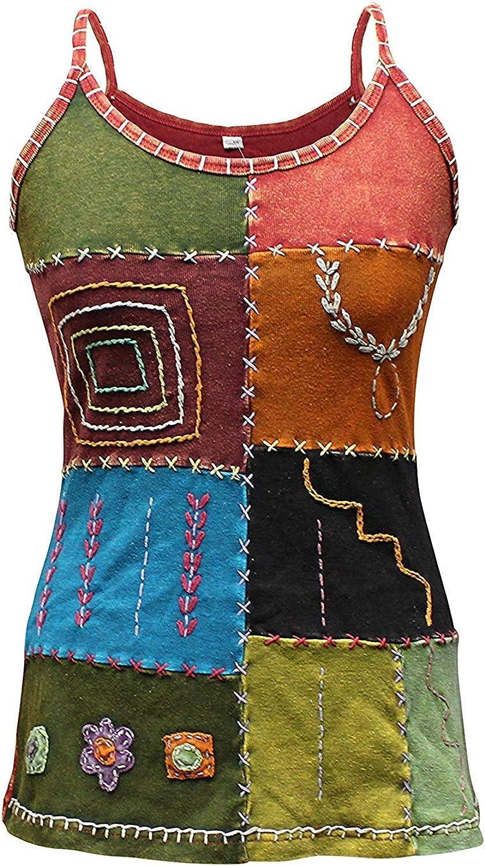 70s Plus Size Costumes | Hippie, Disco Shopoholic Fashion Women Hippie Style Ladies Tank Tops/VestPatchwork T-ShirtFestival Cami Boho $29.99 AT vintagedancer.com