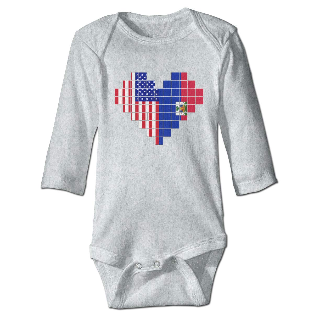 A14UBP Baby Infant Toddler Long Sleeve Climb Jumpsuit American Flag Haiti Flag Puzzle Heart Playsuit Outfit Clothes