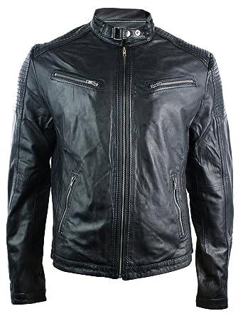 5a786d758366 Veste Biker Cuir Véritable Noir Homme Ajusté Style Rétro Zippée Urbain   Amazon.fr  Vêtements et accessoires