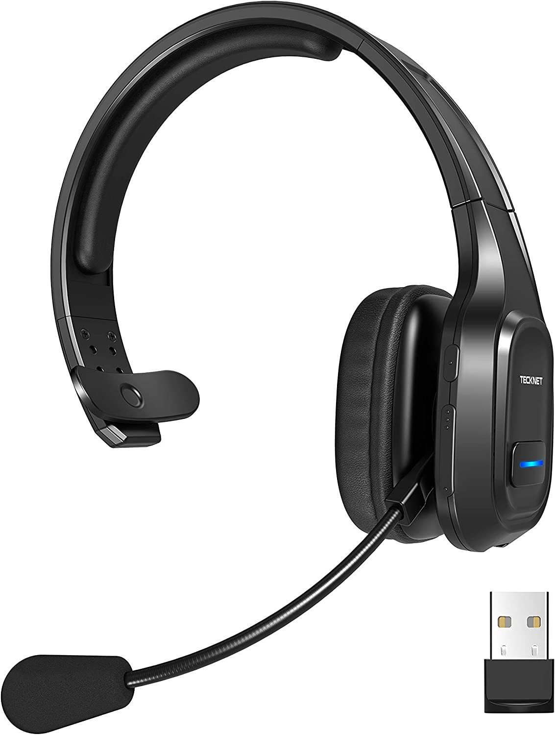 TECKNET Bluetooth Trucker Headset with Microphone Noise Canceling Wireless On Ear Headphones, Hands Free Telephone Headset for Cell Phone Computer Office Home Call Center Skype (Black)