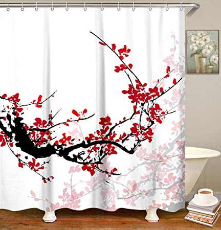 Riyidecor Flower Shower Curtain Panel Black and White Stripe Floral Wedding Rose Pink Herbs Decor Fabric Set Polyester Waterproof 36x72 Inch Free 12-Pack Plastic Hooks
