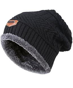 Kfnire Sombrero de Hombre, Gorros de Punto de Invierno de los Hombres con Forro Polar Gorro (Negro)