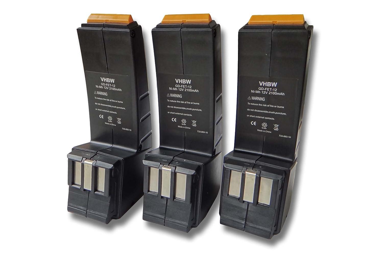 vhbw Set 3X baterí as Ni-MH 2100mAh (12V) para Herramientas Festo Festool CCD12v, CDD12, CDD12E, CDD12ES, CDD12ESC, CDD12FX, CDD12MH, CCD12ES-C. VHBW4251123964076