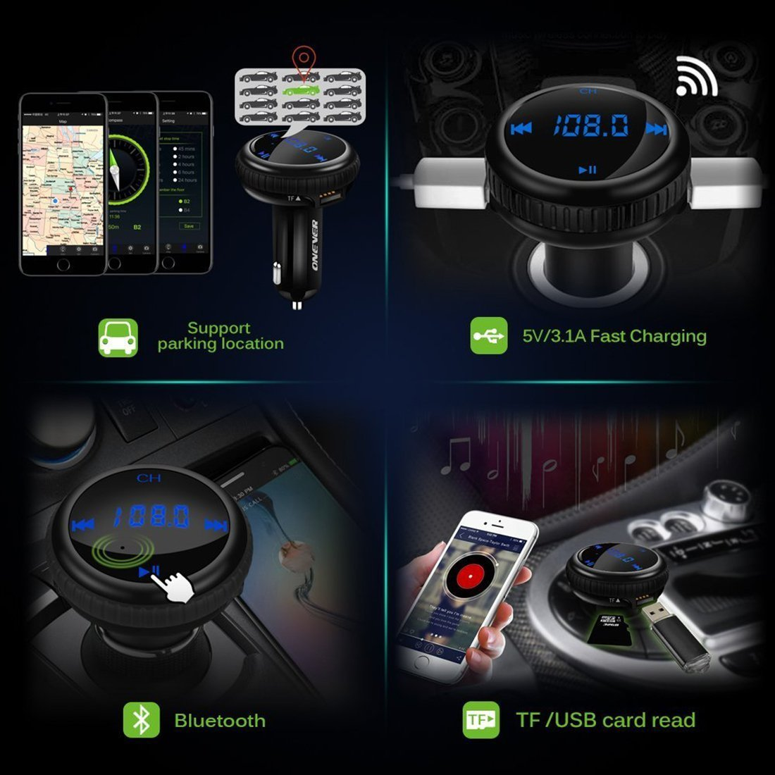Bluetooth FM Transmitter, ONEVER Car Charger with Smart Locator, 5V 2.1A USB Charging Port, Wireless In-Car Radio Adapter MP3 Player Hands-Free Calling Car Kit for iPhone Samsung Smartphone by ONEVER (Image #3)