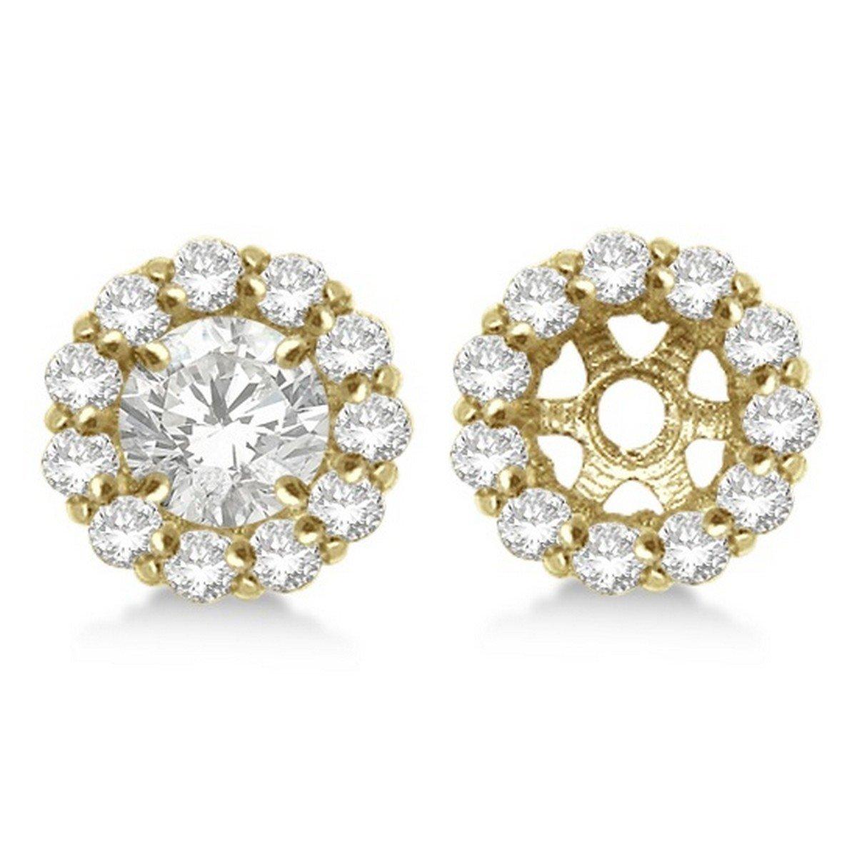 Round Diamond Earring Jackets for 8mm Diamond Studs 14K Yellow Gold 1.00ct