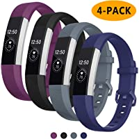 Welltin Bands Compatible with Fitbit Alta/Alta HR for Women and Men(4 Pack), Classic Soft Silicone Sport Strap Wristband for Fitbit Alta/Alta HR/Fitbit,Small Large