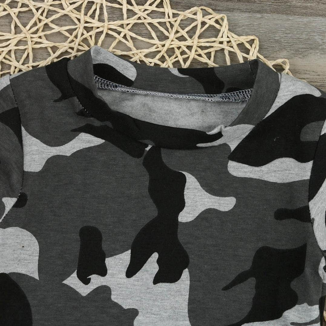 pantal/ón Largo Conjunto 0-24 Mes Oto/ño Invierno beb/é ni/ño reci/én Nacido Ropa Camuflaje Camiseta Tops Ropa beb/é
