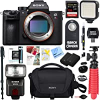 Sony a7R III 42.4MP Full-Frame Mirrorless Interchangeable Lens Camera Body + Extra Battery 128GB Memory & Flash a7RIII Accessory Bundle