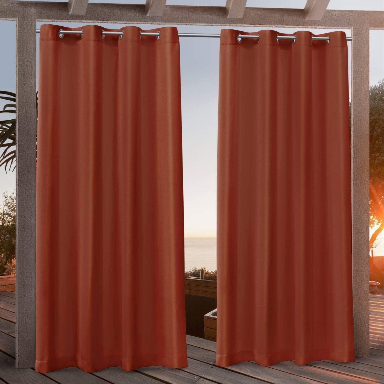 Exclusive Home Curtains Canvas Indoor/Outdoor Grommet Top Curtain Panel Pair, 54x108, Orange Marmalade