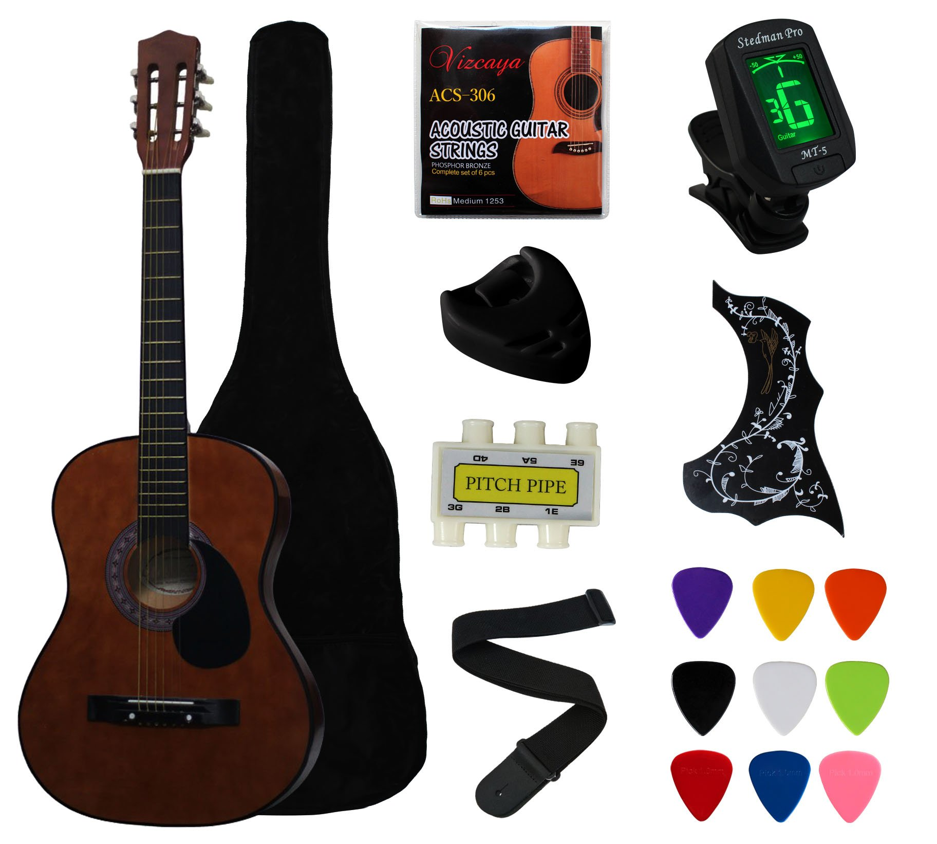 YMC 38'' Coffee Beginner Acoustic Guitar Starter Package Student Guitar With Gig Bag,Strap, 3 Thickness 9 Picks,2 Pickguards,Pick Holder, Extra Strings, Electronic Tuner -Coffee by YMC