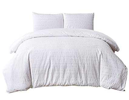 Amazoncom Phf Yarn Dyed Seersucker Duvet Cover Set With Stripe